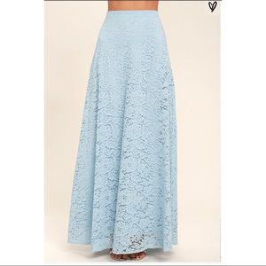 Lulu's Powder Blue Maxi Lace Skirt